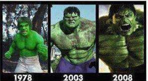 Desde Lou Ferrigno, Hulk el hombre Increíble 1978, 2003 y 2008